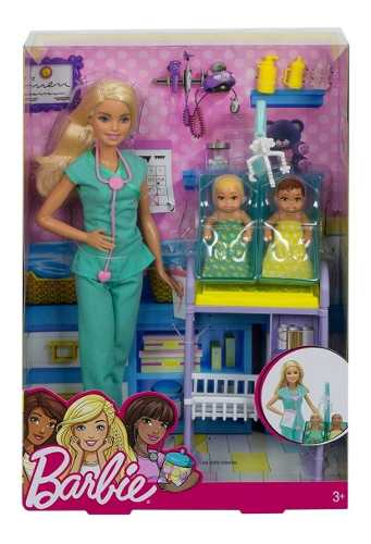 Boneca Barbie Pediatra Médica Loira Com 2 Bebês Skipper Top