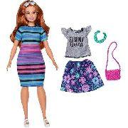 Boneca Barbie Fashionista Curvy 84 Gordinha Listrado Top