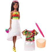 Boneca Barbie Crayola Negra Rainbow Frutas Surpresa Top 2019