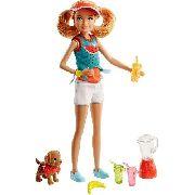 Boneca Barbie Criança Stacie Suco E Cachorro Filhote Top