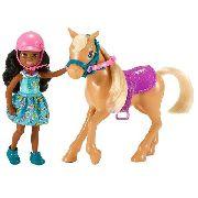 Boneca Barbie Clube Chelsea Criança Morena Com Cavalo Pônei