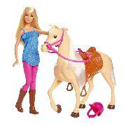 Boneca Barbie Loira E Cavalo Pônei Fazenda Cavalgar 2019