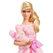 Boneca Barbie Rosa Loira Uma Menina Vestido Urso Its A Girl