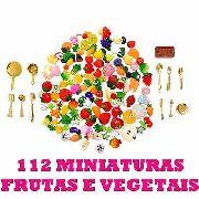 112 Miniaturas Frutas Vegetais Panelas P/ Boneca Barbie