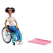 Boneca Barbie Fashionista 133 Negra Cadeirante Articulada