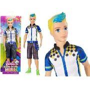 Boneco Ken Barbie Video Game Hero Loiro Com Cinto Top