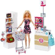 Boneca Barbie No Supermercado De Luxo Loira Mattel Top