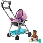 Carrinho Stroller E Bebê Barbie Skipper Babysitters Negro