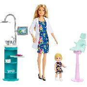 Boneca Barbie Profissões Dentista e Criança Loira Playset