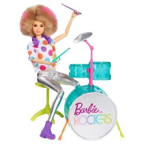 Boneca Barbie Articulada Baterista Rockers Rara 91 Albina