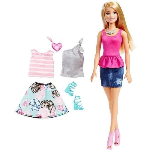 Boneca Barbie Dreamhouse Loira Top Vestido Rosa Acessórios