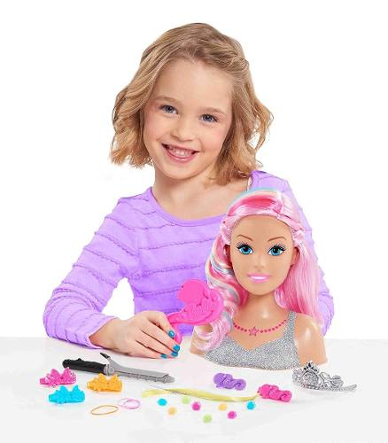 Cabeça Da Boneca Barbie Dreamtopia Pentear E Maquiar Rosa