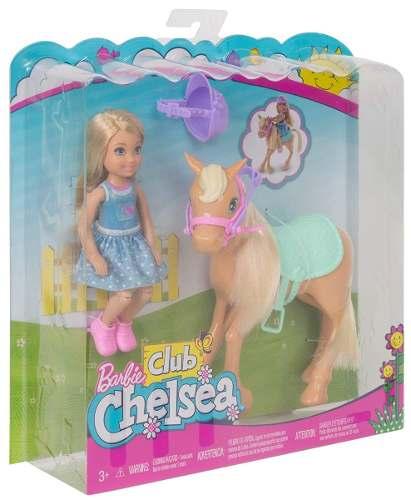 Boneca Barbie Clube Chelsea Criança Loira Com Cavalo Pônei