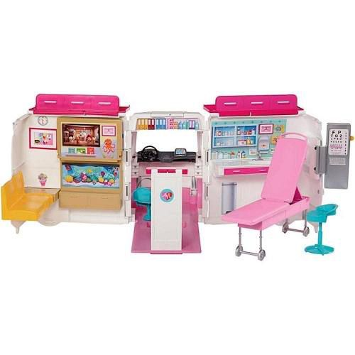 Ambulância Da Barbie Com Acessórios Médicos Toca Sirene Top