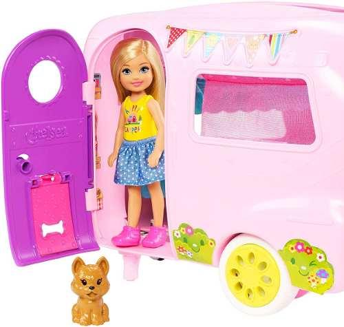 Trailer Carro E Boneca Barbie Clube Chelsea Loira Pets 2019