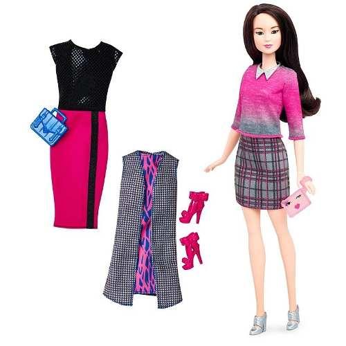 Boneca Barbie Fashionista 36 Vestidos Sapatos Cabelo Preto
