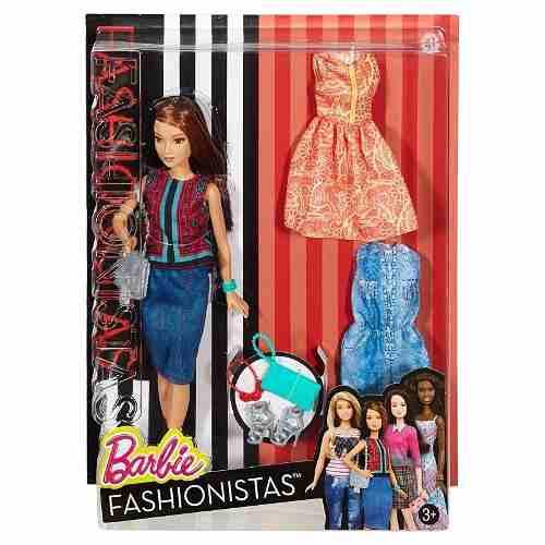 Boneca Barbie Fashionista 41 Vestidos Sapatos Cabelo Top