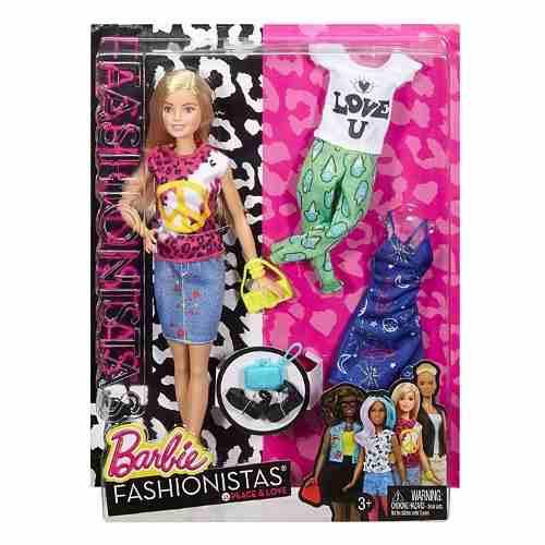 Boneca Barbie Fashionista 35 Loira Com Roupas Paz E Amor Top
