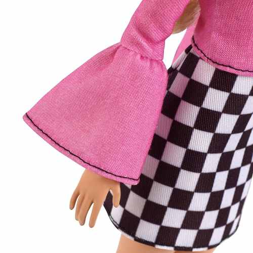 Boneca Barbie Fashionista 104 Loira Vestido Rosa Óculos Top