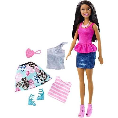Boneca Barbie Dreamhouse Negra Com Roupas E Acessórios Top