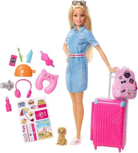 Boneca Barbie Dreamhouse Adventures Loira Com Mala De Viagem