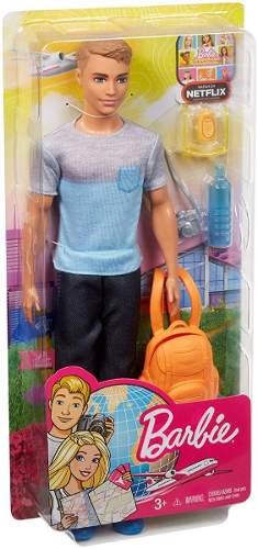 Boneco Ken Barbie Dreamhouse Adventures Loiro Mochila Viagem