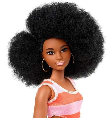 Boneca Barbie Fashionista 105 Negra Afro Vestido Black Top