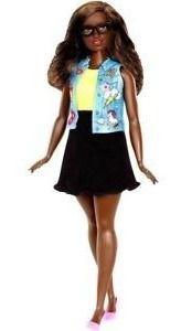 Boneca Barbie Fashionista Curvy 39 Negra Óculos Top Rara