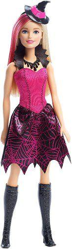 Boneca Barbie Halloween Bruxa Rosa Loira Fantasia Top Rara