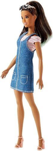 Boneca Barbie Fashionista 72 Vestido Jeans Morena Óculos2019