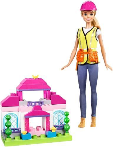 Boneca Barbie Loira Construtora Engenheira Tipo Lego 50 Pçs
