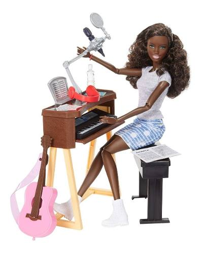 Boneca Barbie Articulada Cantora Morena Piano Violão Rosa