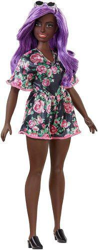 Boneca Barbie Fashionista 125 Negra Roxo Vestido Floral 2019