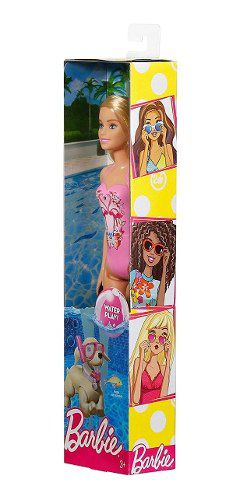 Boneca Barbie Loira Water Play Praia Maio Rosa