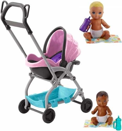 Carrinho Stroller Barbie E 2 Bebês Skipper Moreno E Loiro