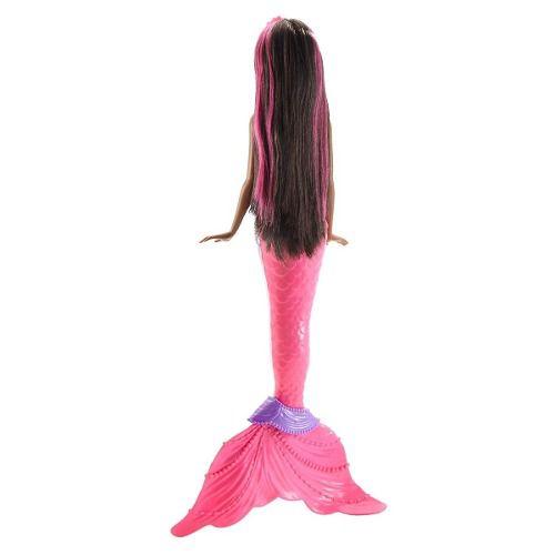 Barbie Dreamtopia Negra Mechas Rosa Sereia Arco-iris Luzes