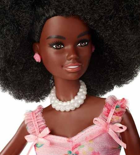 Boneca Barbie Birthday Wishes Cabelo Black Vestido Rosa Top