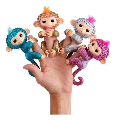 Agarradinho Fingerlings Macaco Glam Azul | Pet Interativo