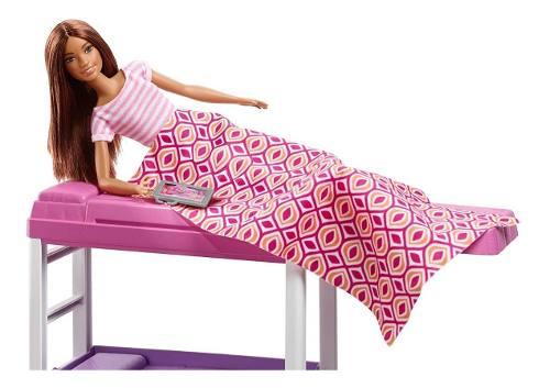 Boneca Barbie Morena E Cama Alta Loft Com Acessórios Top