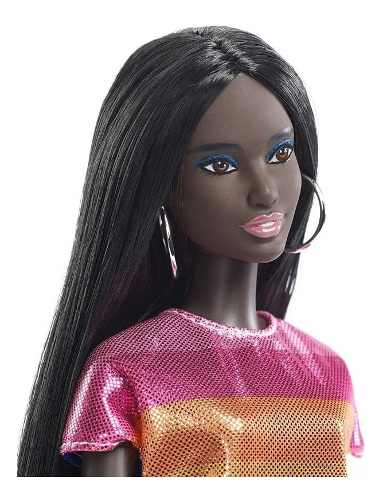 Boneca Barbie Fashionista 90 Negra Colorida Carnaval 2019