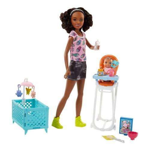 Boneca Barbie Skipper Babysitters Babá Negra Bebê Comida