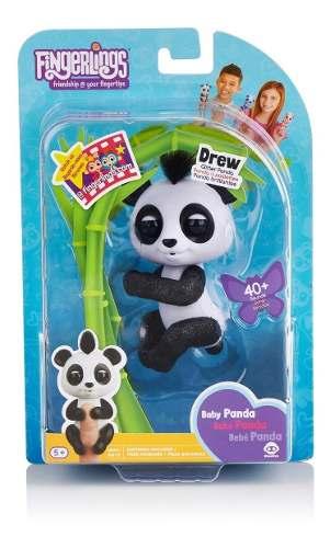Agarradinho Fingerlings Panda Drew Preto e Branco Brilhante