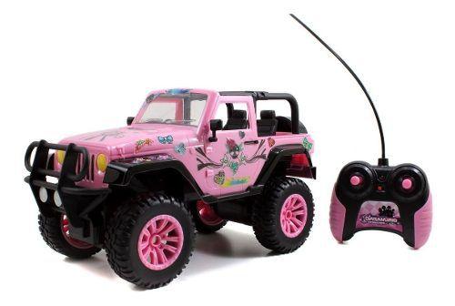 Carro Jeep Para A Barbie Com Controle Remoto Rosa