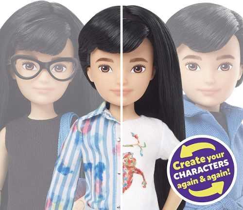 Novo Boneco Mattel Customizável Sem Gênero Cabelo Preto Liso