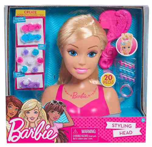 Cabeça De Boneca Barbie Para Pentear Loira Presente Top