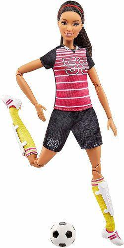 Boneca Barbie Made To Move Jogadora De Futebol Brunete Negra