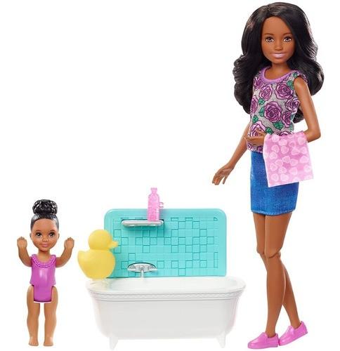 Boneca Barbie Skipper Babysitters Negra Com Banheira E Bebê