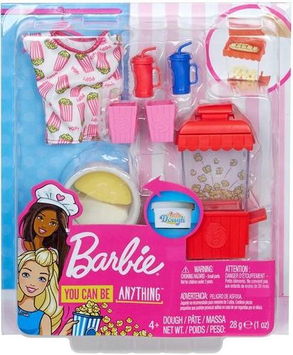 Pacote Acessórios Barbie Cozinhar E Assar Tema Pipoca Top