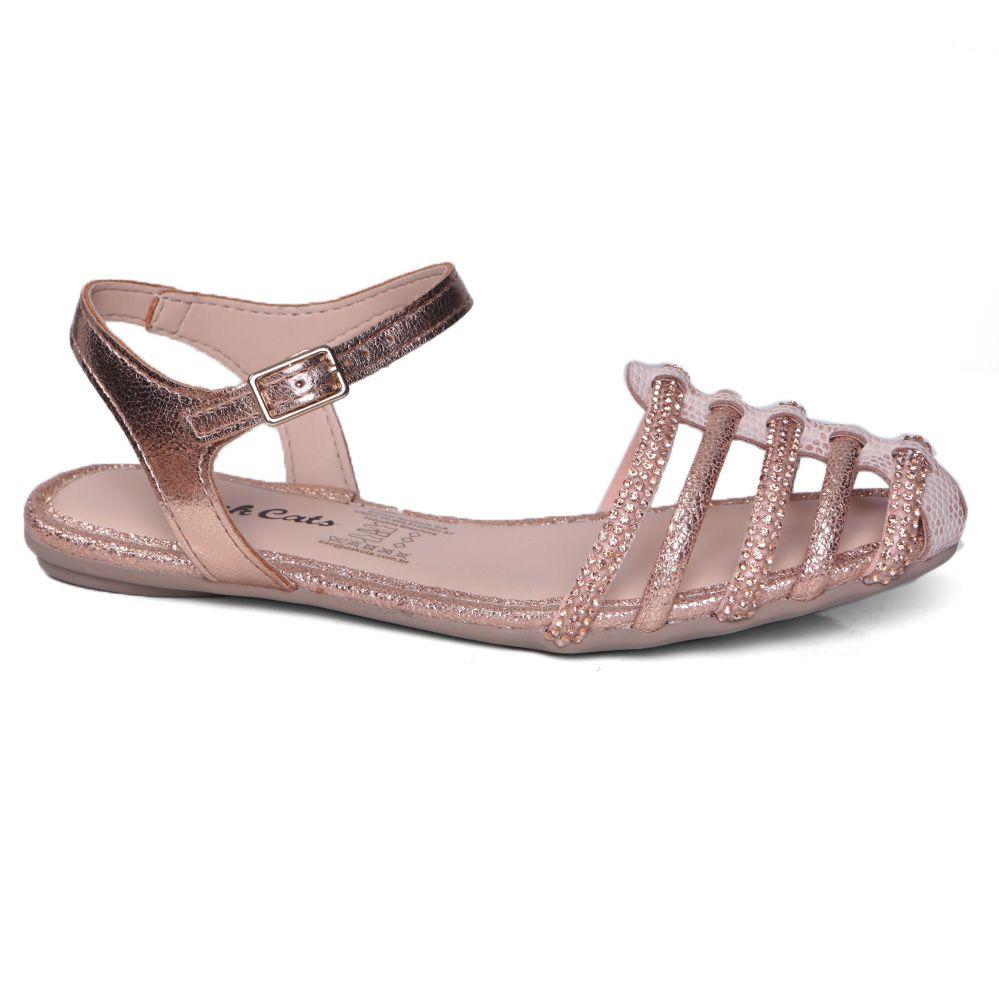 Sandália Rasteira Infantil Pink Cats V0971