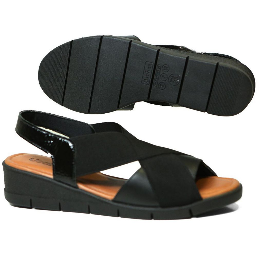 Sandália Usaflex AA1009 Anabela Elástico Comfort